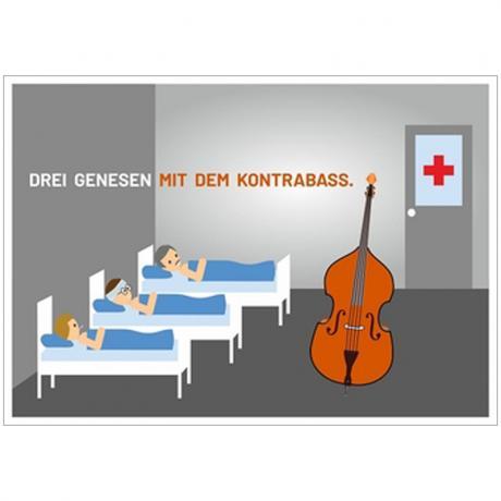 Postkarte »Drei genesen mit dem Kontrabass«