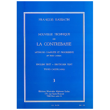 Rabbath, F.: Nouvelle technique de la contrebasse Vol.3