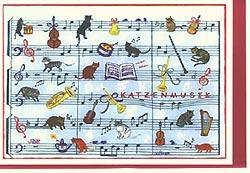 Carte postale art, musique de chats