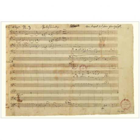 Grußkarte »Mozart-Faksimile III« Klavierkonzert A-Dur KV 488